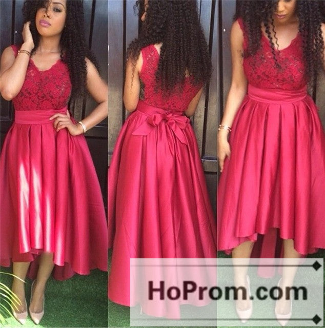 da1212a0dc52 High Low V -Neck Red Sleevless Prom Dresses Homecoming Dresses – Hoprom