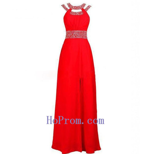 Long Red Prom Dresses,Halter Prom Dress,Chiffon Evening Dresses