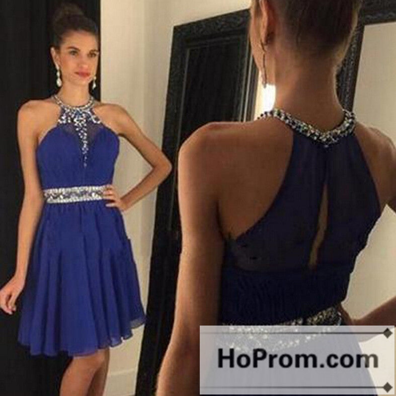 Classy Halter Chiffon Short Prom Dresses Homecoming Dresses