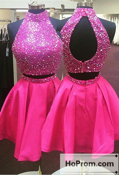 Two Piece Hot Pink Beading Prom Dresses Homecoming Dresses