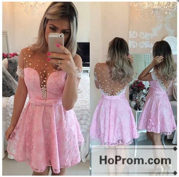 Short Sleeve Pink Lace Prom Dresses Homecoming Dresses