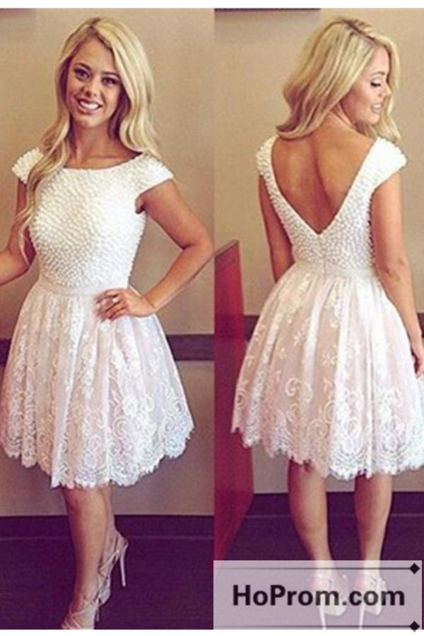 Backless Short Cap Sleeve Prom Dresses Homecoming Dresses