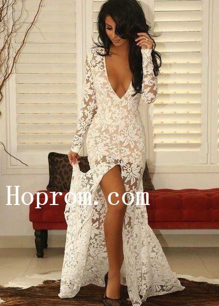 Long Sleeve Prom Dresses,V-Neck Prom Dress,Evening Dress