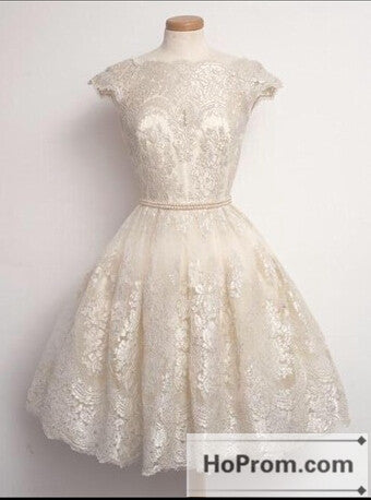 Knee Length White Lace Prom Dresses Homecoming Dresses