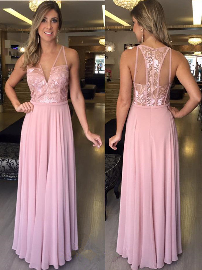 Long Chiffon Pink A-Line Prom Dresses Evening Dress