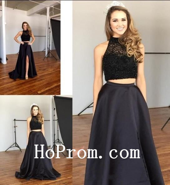 Long Halter Prom Dresses,Black Prom Dress,Evening Dress
