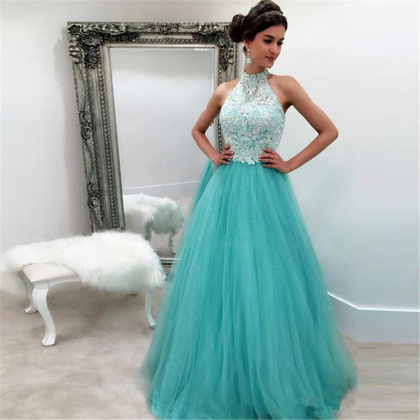 Lace Tulle Sleeveless High-Neck Prom Dresses Evening Dress