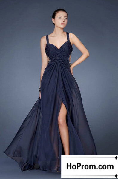 A-Line Dark Navy Chiffon Prom Dress Evening Dresses