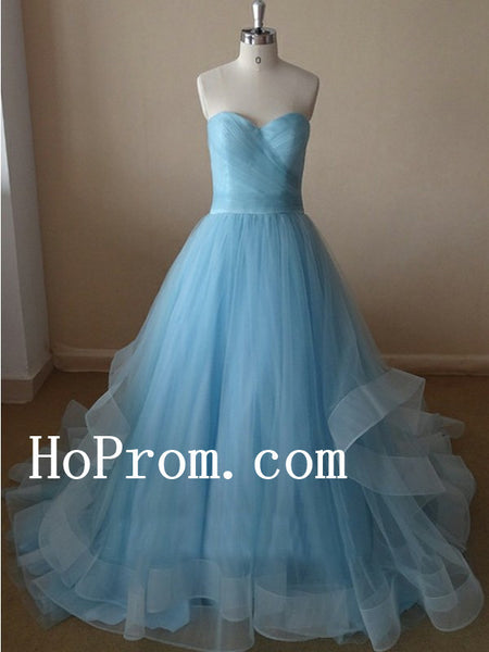 Strapless Blue Prom Dresses,Long Prom Dress,Tulle Evening Dresses