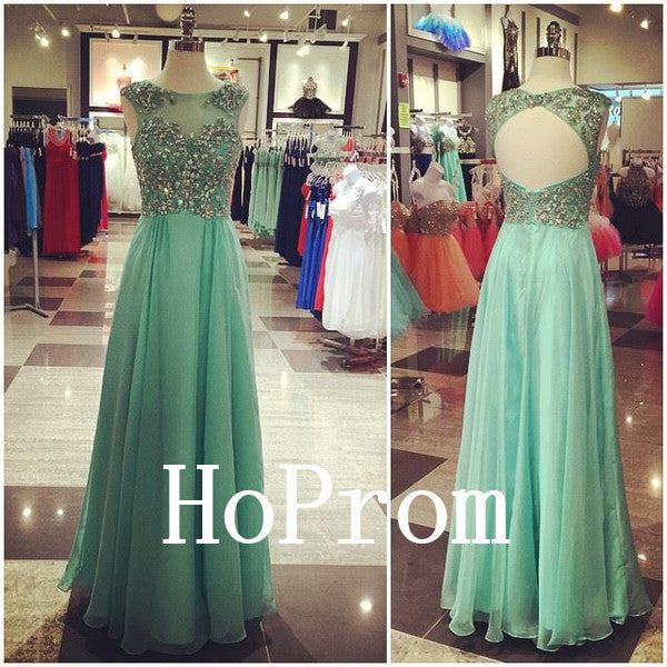Beaded A-Line Prom Dresses,Sleeveless Prom Dress,Evening Dress