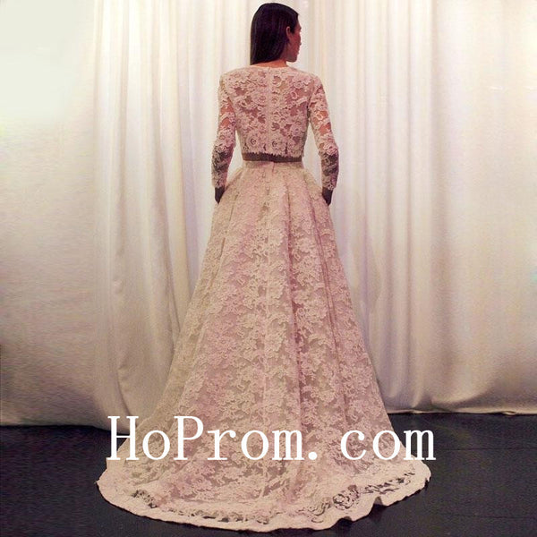 Long Lace Prom Dresses,Pink Prom Dress,Evening Dress