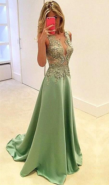 Green Satin A-Line Sleeveless Prom Dresses Evening Dress