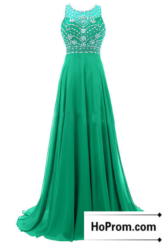Beading A-Line Sleeveless Prom Dress Evening Dresses