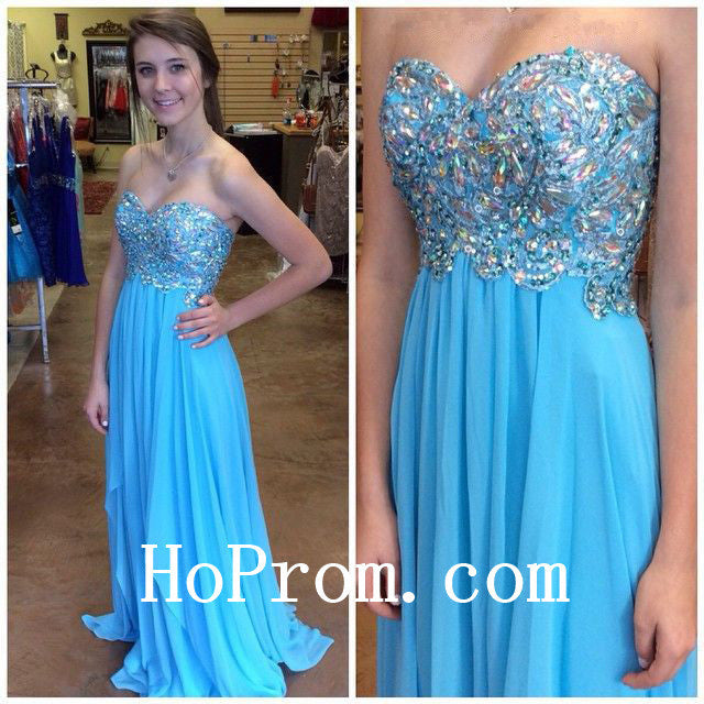 Long Prom Dresses,Blue Prom Dress,Strapless Evening Dress