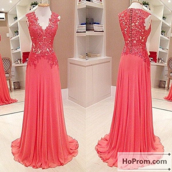 A-Line V-Neck Sleeveless Chiffon Prom Dresses Evening Dresses