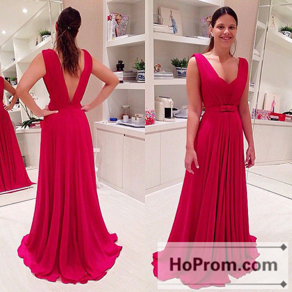 Sleeveless Red Chiffon A-Line Prom Dresses Evening Dress