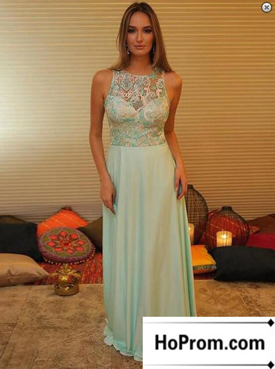 A-Line Green Lace Chiffon Prom Dress Evening Dresses