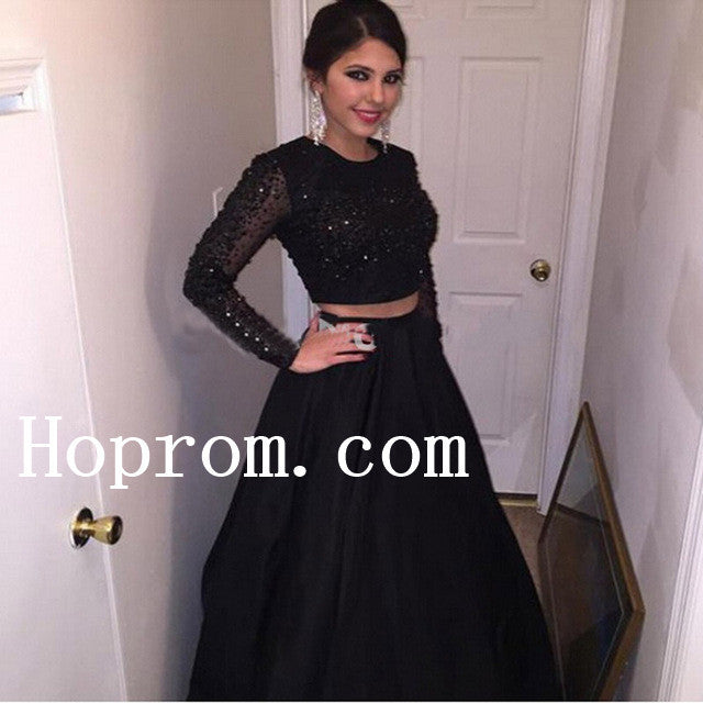 Long Sleeve Prom Dresses,Beading Prom Dress,Evening Dress