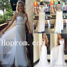 Sleeveless Beaded Prom Dresses,White Prom Dress,Evening Dress