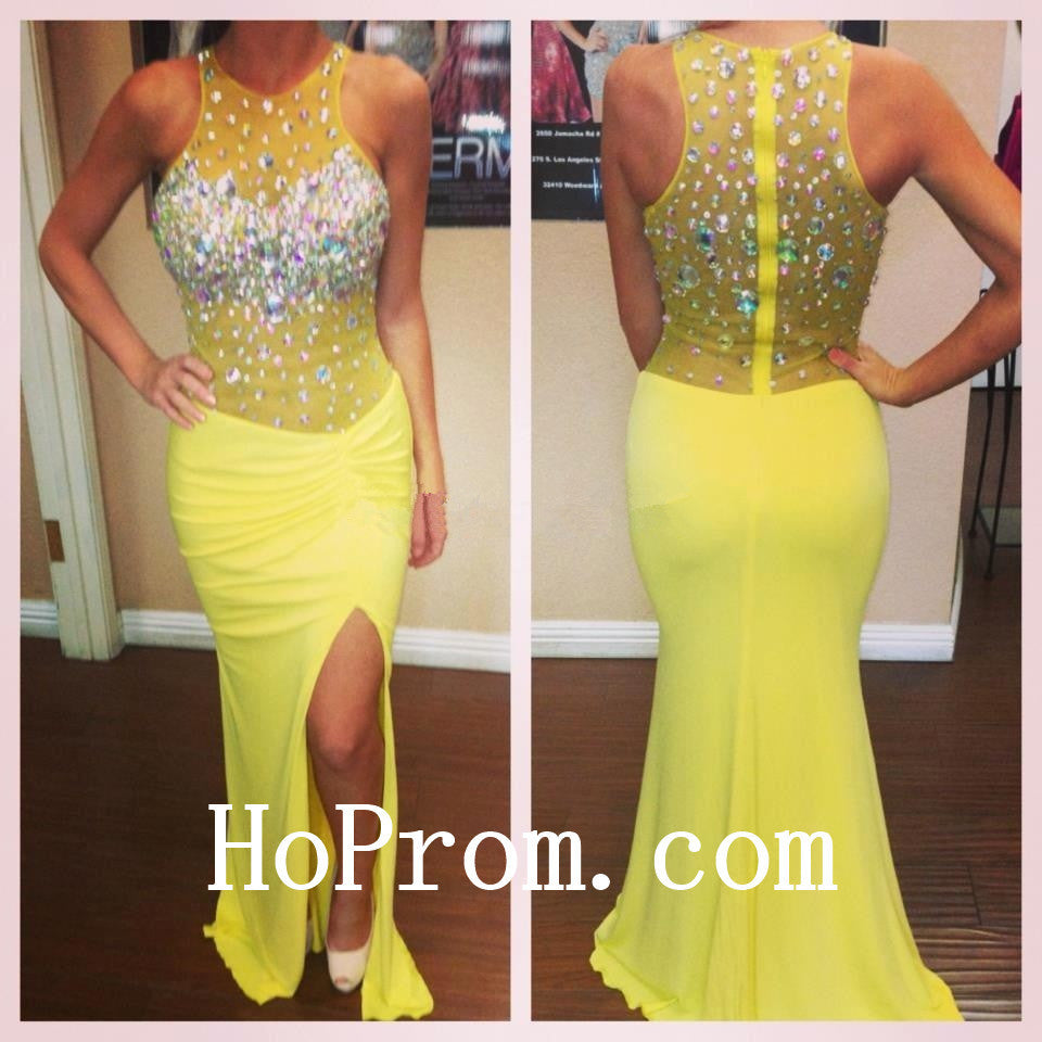 Yellow Long Prom Dresses,Sheath Prom Dress,Evening Dress