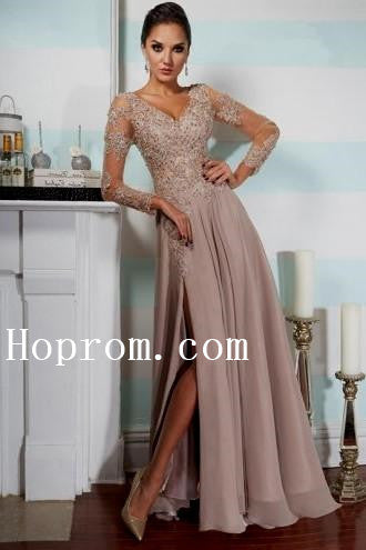 V-Neck Applique Prom Dresses,Long Sleeve Prom Dress,Evening Dress