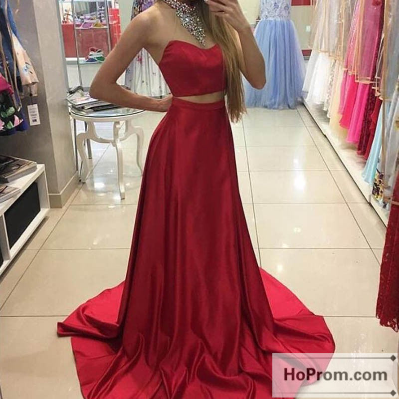 Red Satin Two Piece Long Prom Dresses Evening Dresses