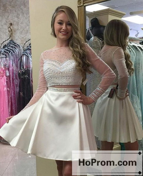 Long Sleeves Beading Ivory Prom Dresses Homecoming Dresses