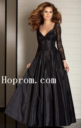 Black V-Neck Prom Dresses,Long Sleeve Prom Dress,Evening Dress