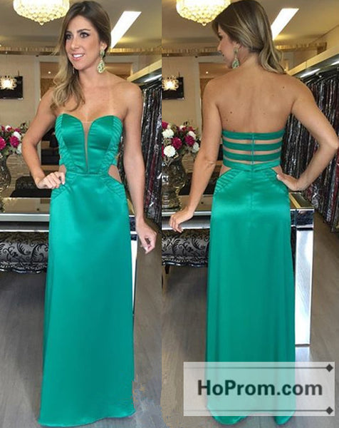 Long Sweetheart Zipper Green Prom Dresses Evening Dress