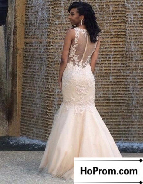 Long Mermaid Applique Sleeveless Prom Dress Evening Dresses