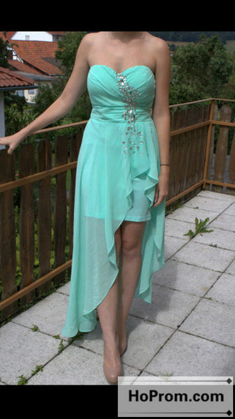 High Low Chiffon Strapless Prom Dresses Homecoming Dresses