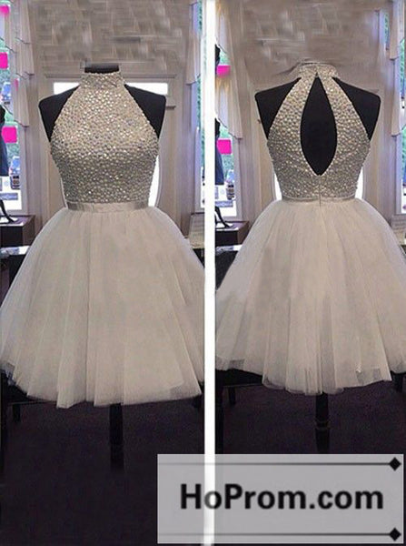 A-Line High Neck Short Prom Dresses Homecoming Dresses