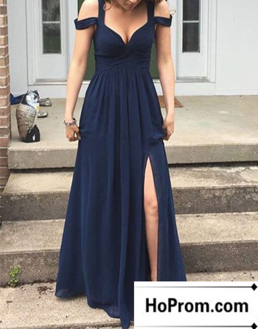 Off Shoulder Chiffon A-Line Prom Dress Evening Dresses