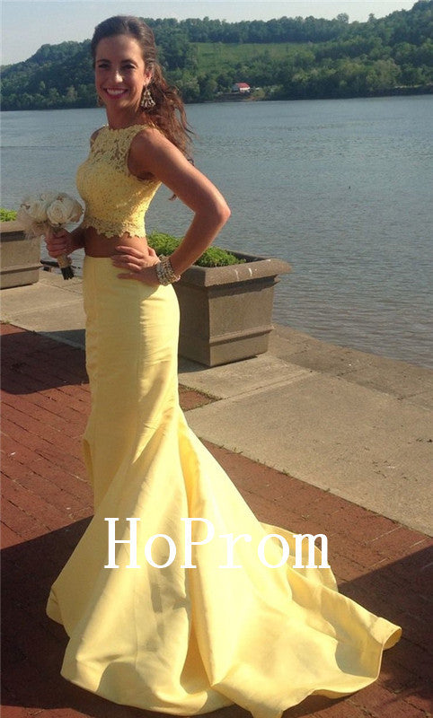 Two Piece Prom Dresses,Yellow Prom Dress,Evening Dress