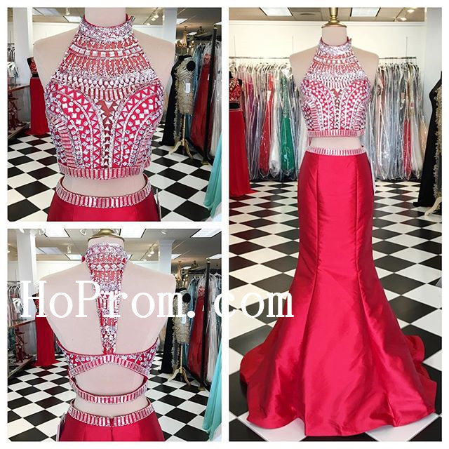 Two Piece Prom Dresses,Red Prom Dress,Evening Dress