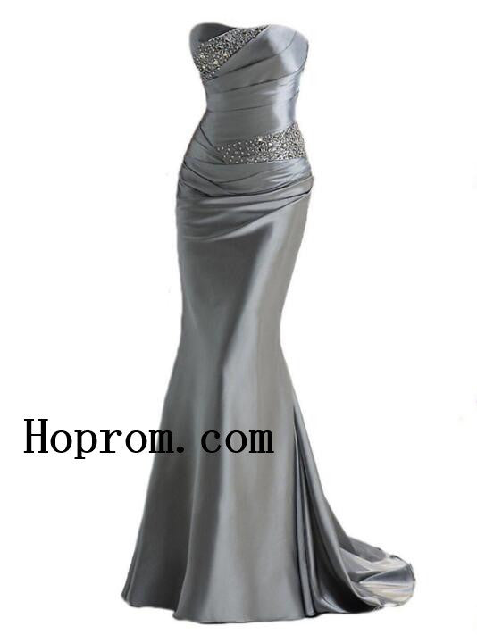 Grey Sweetheart Prom Dresses,Simple Satin Prom Dress,Evening Dress