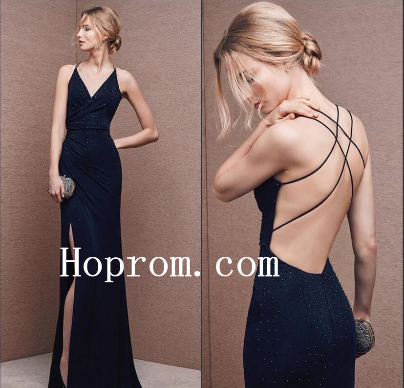 Backless Beaded Prom Dresses,Spaghetti Straps Prom Dress,Evening Dress