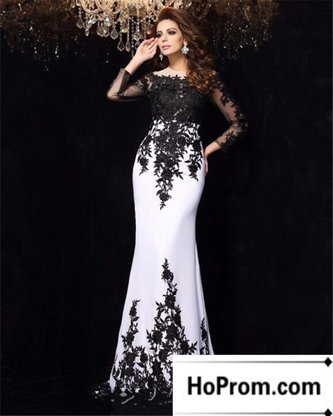Long Sleeve Black Applique Prom Dress Evening Dresses