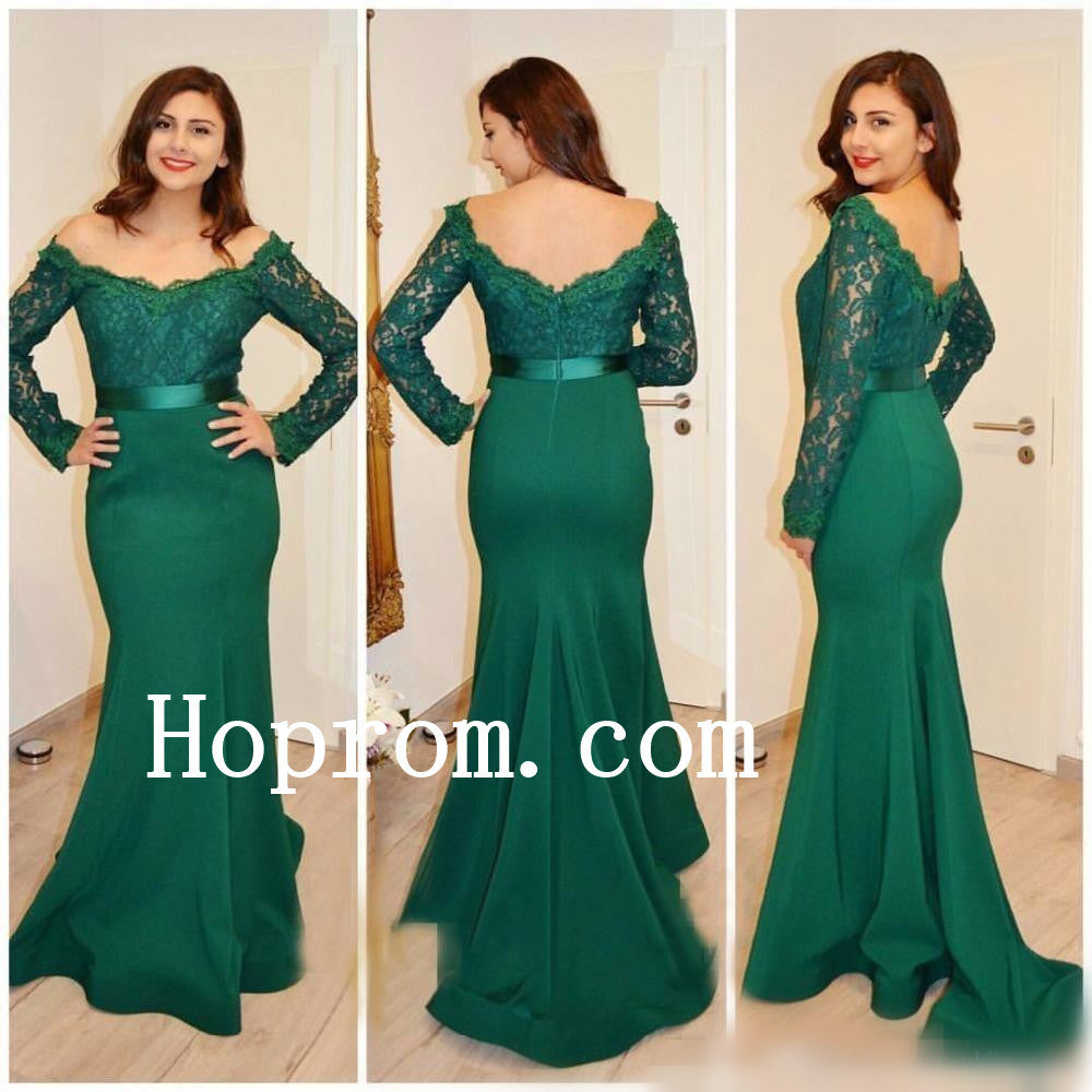 Lace Satin Prom Dresses,Long Sleeve Prom Dress,Evening Dress