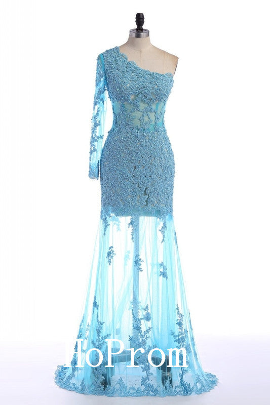 One Shoulder Prom Dresses,Lace Prom Dress,Evening Dress