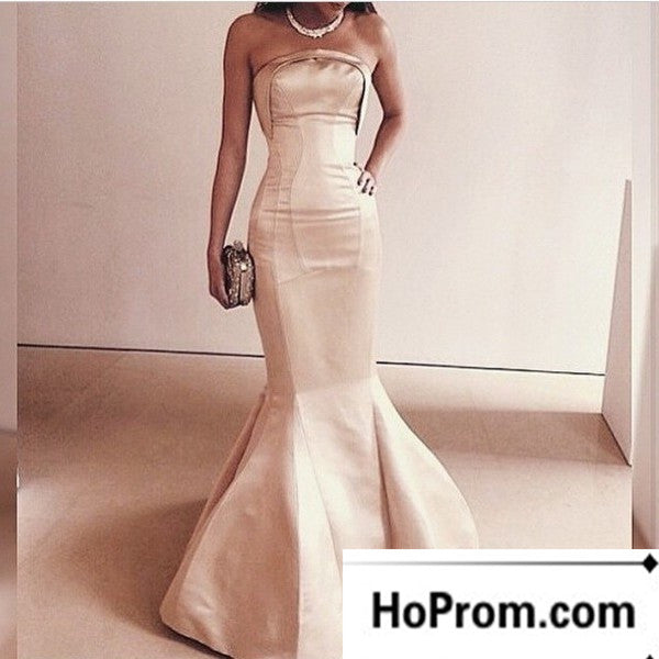 Strapless Mermaid Simple Satin Prom Dress Evening Dresses