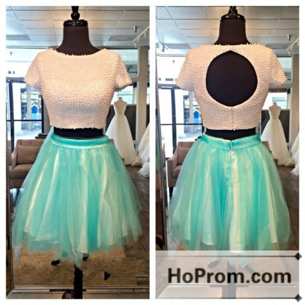 Short Sleeve Two Piece A-Line Prom Dresses Homecoming Dresses