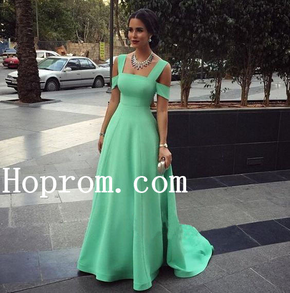 Green Satin Prom Dresses,A-Line Prom Dress,Evening Dress