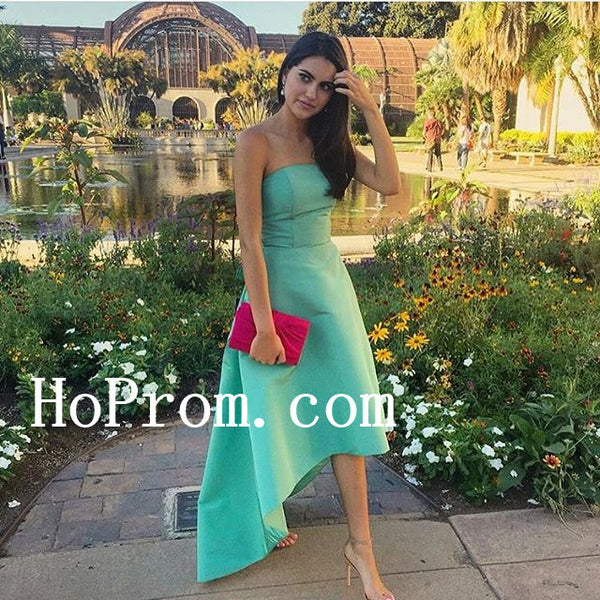 Hi-Lo Green Prom Dresses,Strapless Prom Dress,Evening Dress