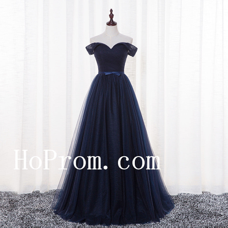 Navy Blue Prom Dresses,Off Shoulder Prom Dress,Evening Dress