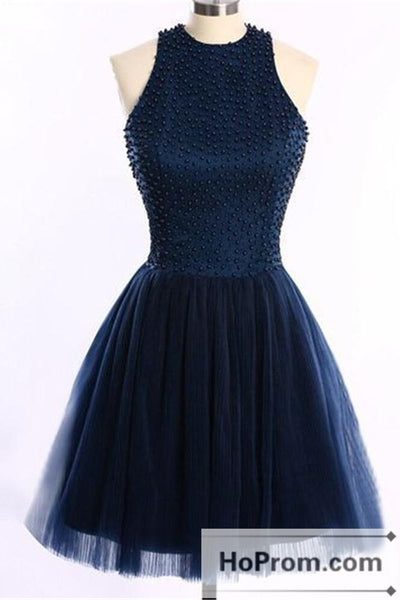 Navy Blue Short Handmade Halter Prom Dresses Homecoming Dresses