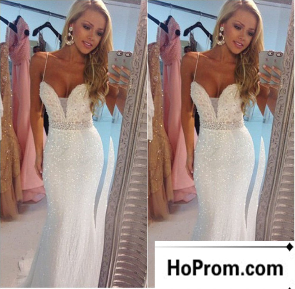 Spaghetti Straps White Sparkly Prom Dresses Evening Dress