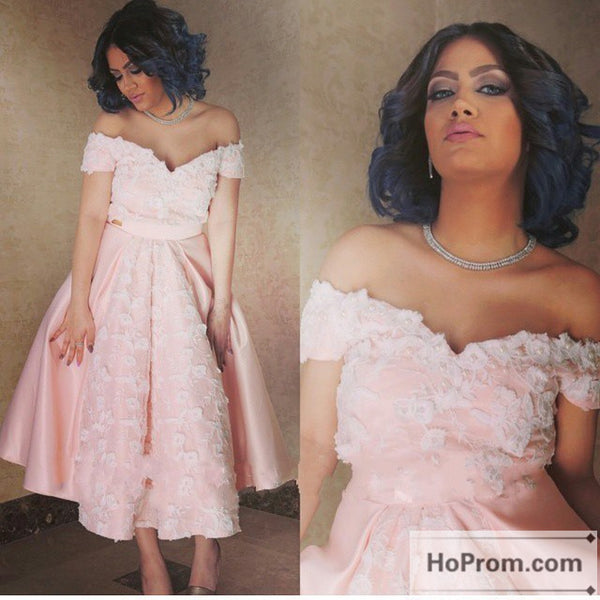 Off Shoulder Pink A-Line Prom Dress Evening Dresses