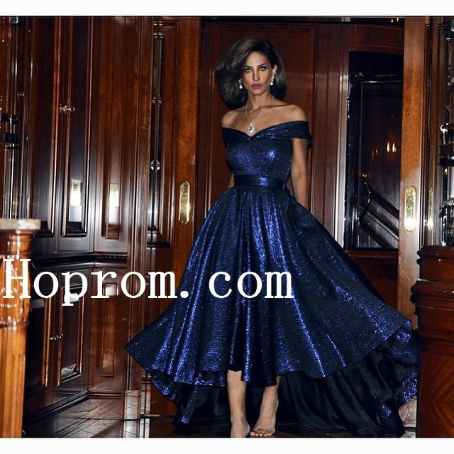 Sparkly Blue Prom Dresses,High Low Prom Dress,Evening Dress