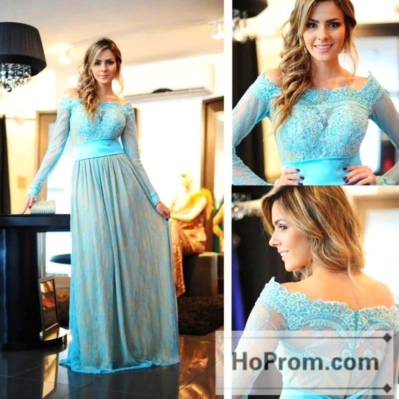 Off Shoulder Blue Long Sleeve Prom Dresses Evening Dress